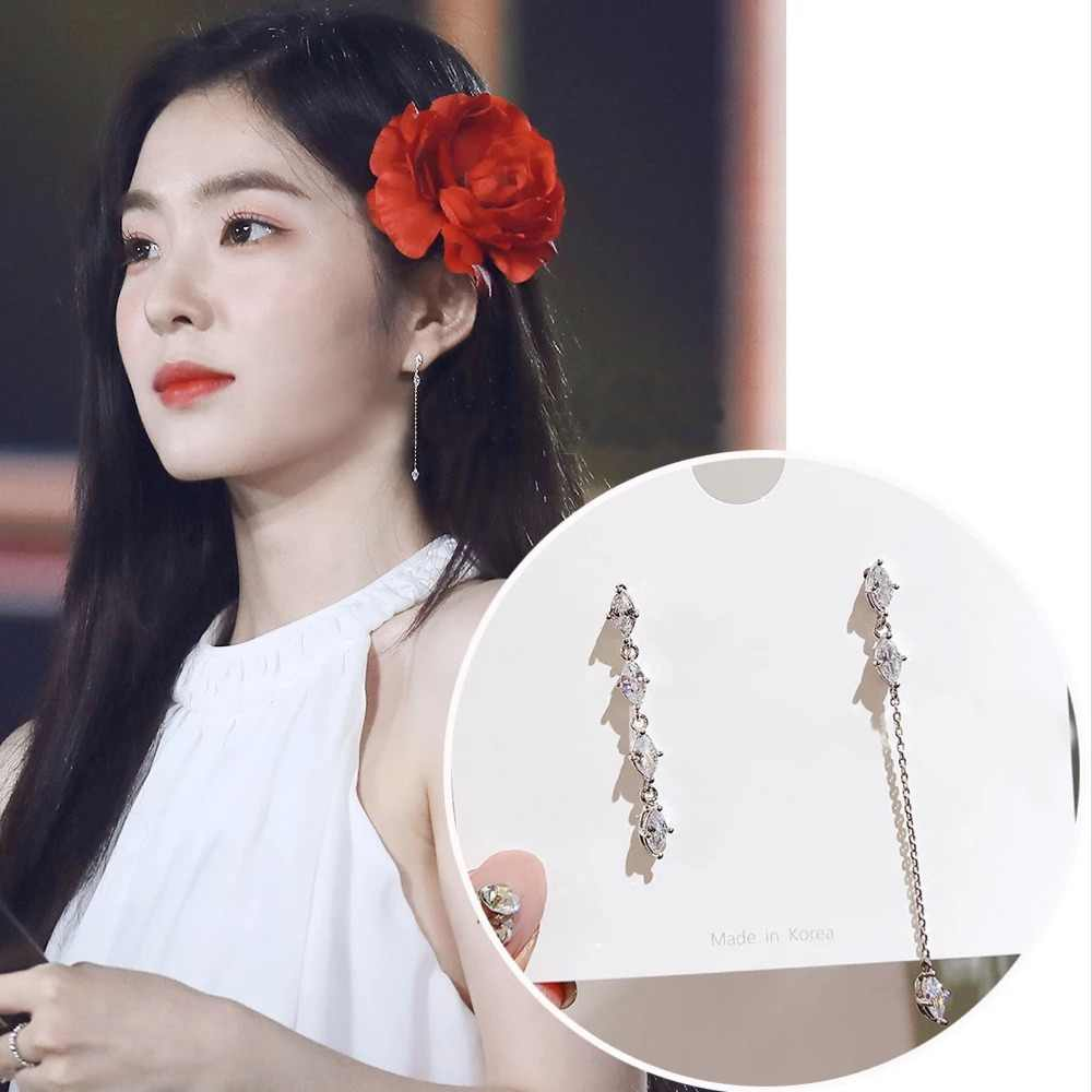 New Korean TV Star Zircon Cute Asymmetric Drop Earrings Fashion Women Elegant Rhinestone Long Line Pendientes Jewelry Girl Gifts