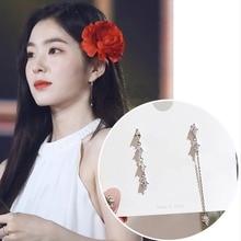 Drop-Earrings Jewelry Zircon Gifts Rhinestone Asymmetric Long-Line Korean Tv Women Elegant