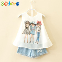 Sodawn 2017 Summer Baby Children Clothes Girls Clothes Sets Fashion Girl Chiffon Design Pearl Vest Pants