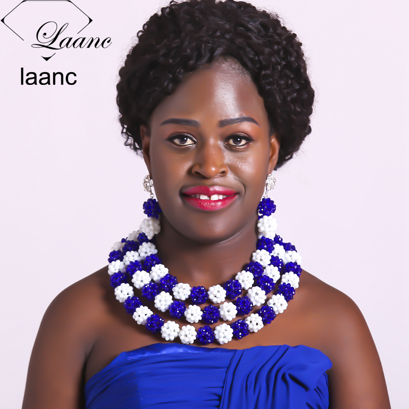 Laanc Royal Blue and White Nigerian Wedding African Beads Jewelry Set Crystal Women Necklace Earrings Bracelet AL615 fashion white crystal beads necklace earrings bracelet nigerian wedding beads african jewelry set for women ddk014
