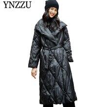YNZZU 2019 New Black Womens Winter coat parka European style long sleeve with belt Sustans Coat Turn down collar YO860