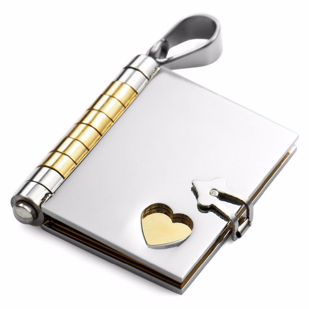 Men Stainless-Steel Pendant Necklace Silver Gold Tone Book Heart wholesale