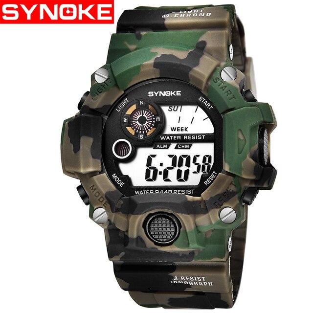 88aed56be39 SYNOKE Relogio masculino Militar Relógios Desportivos Multi Função de  Alarme Cor LED Digital Duplo Movimento relógio
