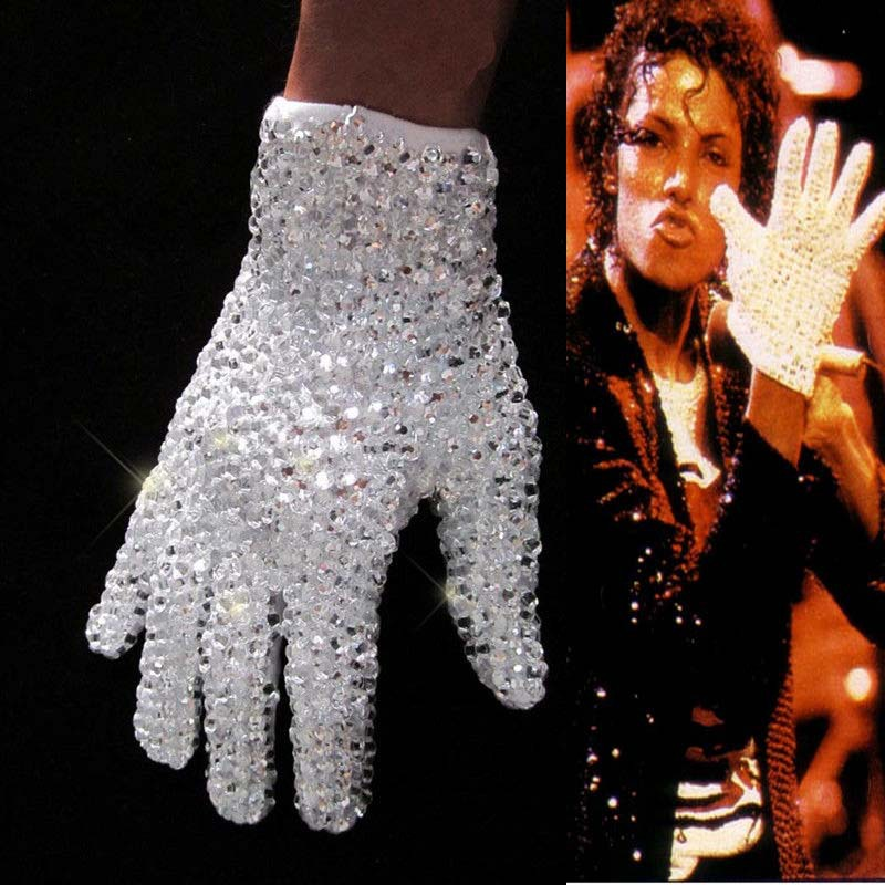 MJ MICHAEL JACKSON RHINESTONE SEQUINS CRYSTAL SHINING GLOVE Handgjord Show Gift Collection