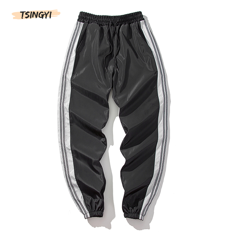 Tsingyi Summer Cargo Pants Men Women Striped Spliced Ankle-Length Streetwear Joggers Black Puiple Grey Couple Pencil Pants