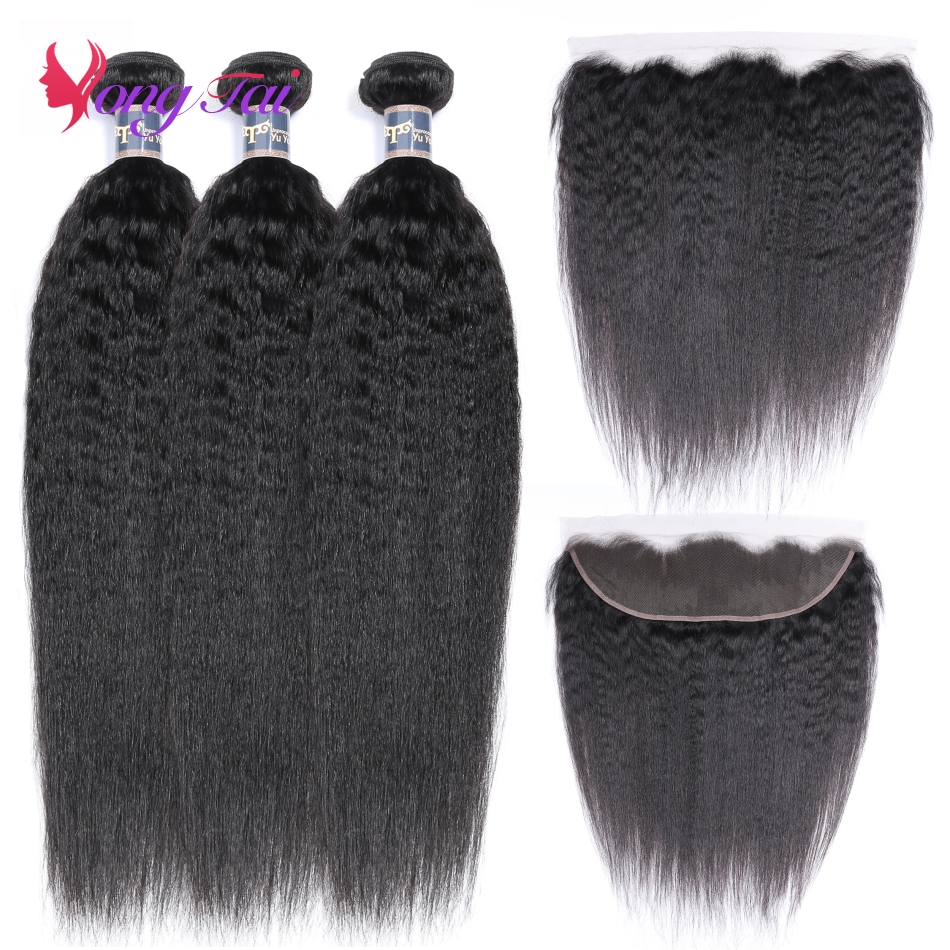 YuYongtai Brazilian Kinky Straight Ear To Ear Lace Frontal Closure With Bundles 100% Human Hair 3 Bundles With Closure Non Remy