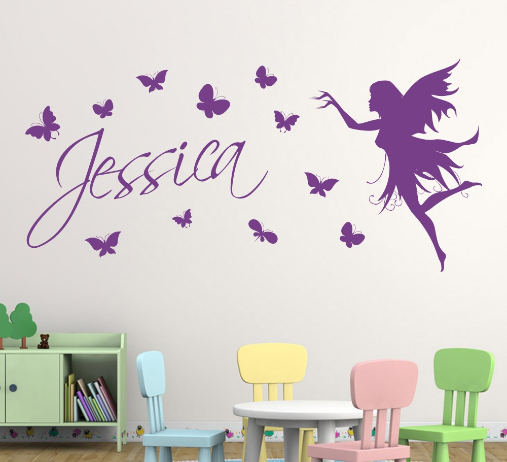 Wall stickers decoration for kids - Aliexpress Com Buy Butterfly Fairy Girls Wall Art Wall Sticker Decorative Butterflies Personalised Name Wall Sticker Kids Home Decor From Reliable Wall