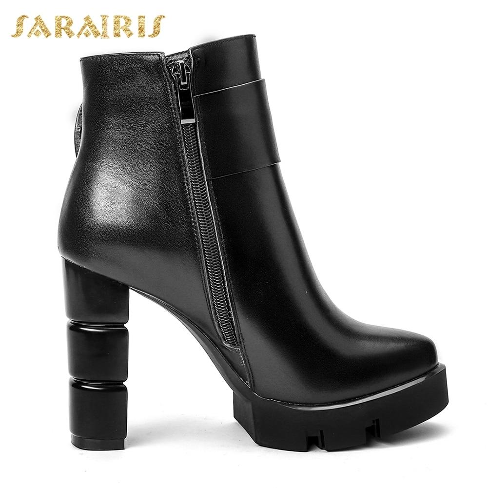 Sarairis 33 2018 Tacón Plataforma Mujer Arival Negro Nueva Up 40 Tamaño Gran Zapatos Cuero rojo Zip Alto Botas Vaca Tobillo De 88xfwdr4q
