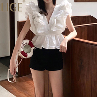 LIGE White Summer Ruffle Patchwork Womens Shirts Blouse V Neck Sleeveless Tunic Short Tops Female Korean Fashion 2019 New