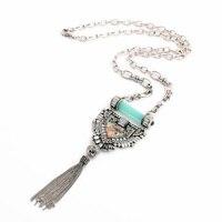 Dress Accessories Fashion Design Resin Glass Zinc Alloy Ladies Classic Silver Long Tassel Pendant Necklace