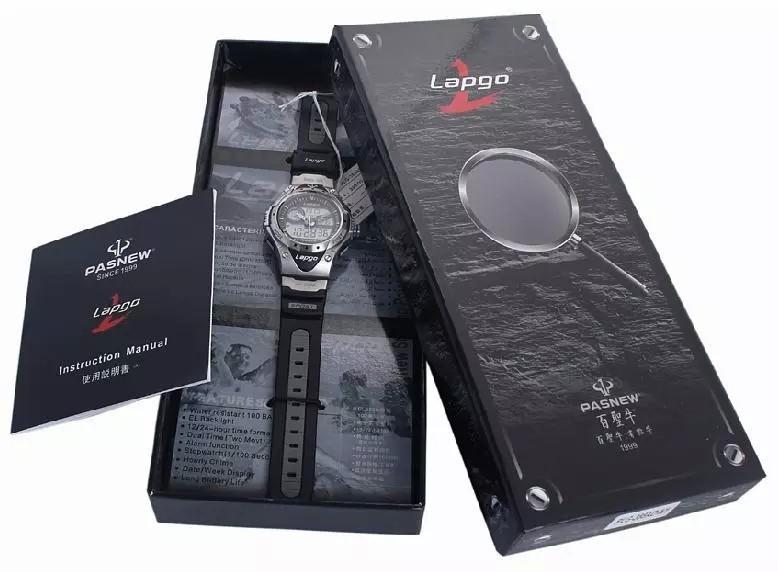 многофункциональный скольжению спортивная мужская классический аналого-цифровой черный смола часы, 100 м водонепроницаемый дайвинг часы, 6 стиль цвета