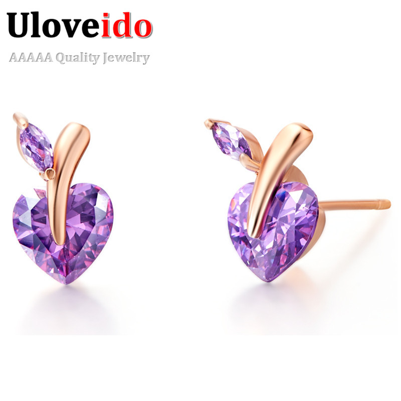 5% Off Jewellery Womens Earrings Heart Rose Gold Color Earings Jewelry White Purple Stone Boucle Doreille Gifts Uloveido R698
