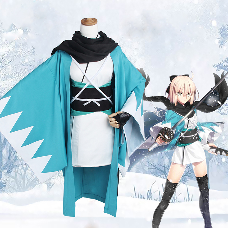 Anime Fate Grand Order Okita Souji 3 0 Version Short Kimono Uniform Cosplay Costume For Unisex