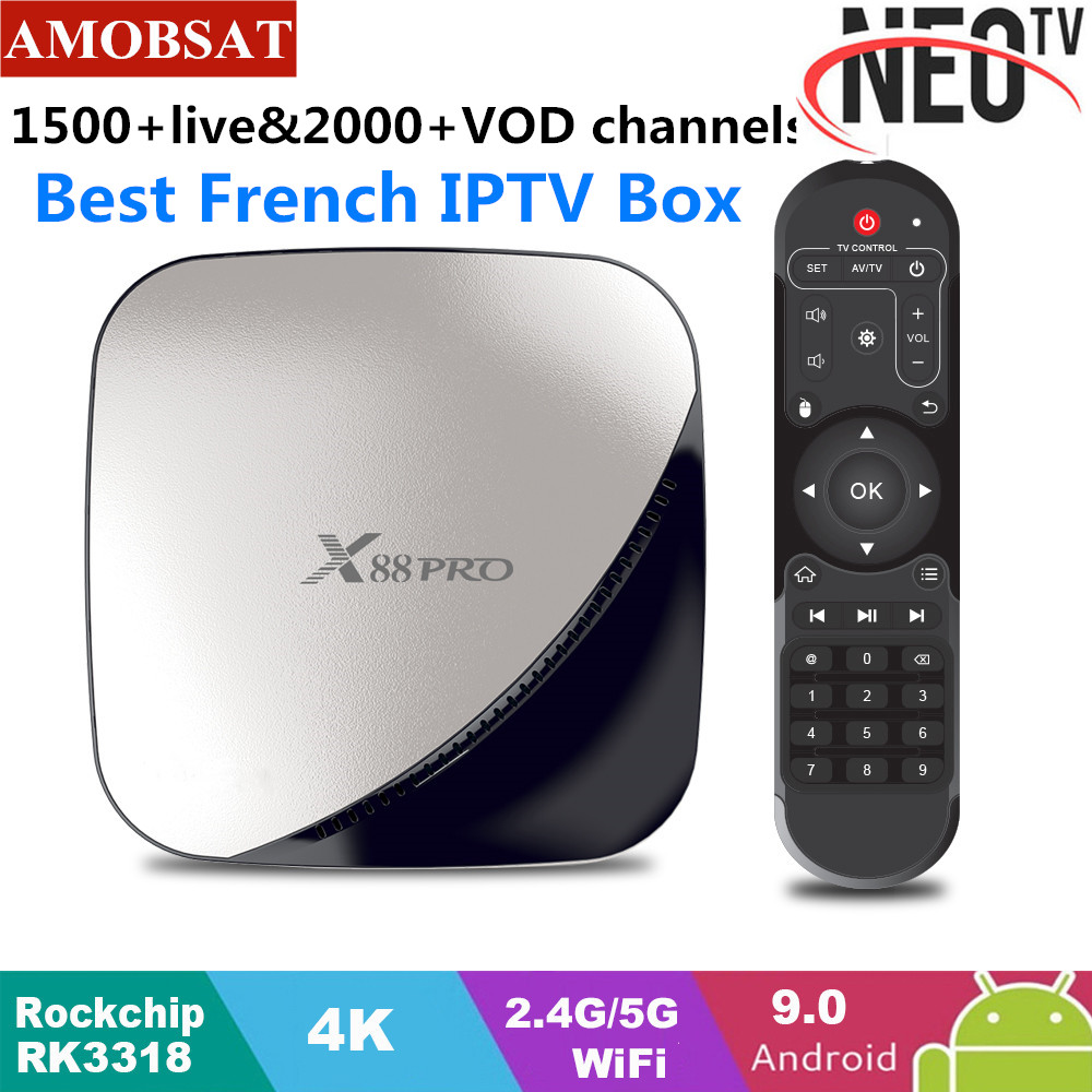 X88 pro Android 9 0 TV Box 4G 64G 1 Year NEO pro French IPTV Subscription