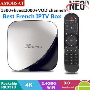 X88 pro android 9.0 caixa de tv 4g 64g + 1 ano neo pro francês iptv assinatura 4 k hdr conjunto caixa superior usb 3.0 suporte filme 3d ott caixa de tv|Conversor de TV| |  -