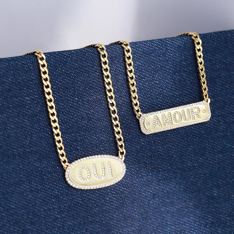 Takı ve Aksesuarları'ten Gerdanlıklar'de Moda kadın altın zincir bağlantı takı kübik zirkonya mektubu Amour kolye altın renk OUI gerdanlık monaco takı'da  Grup 1