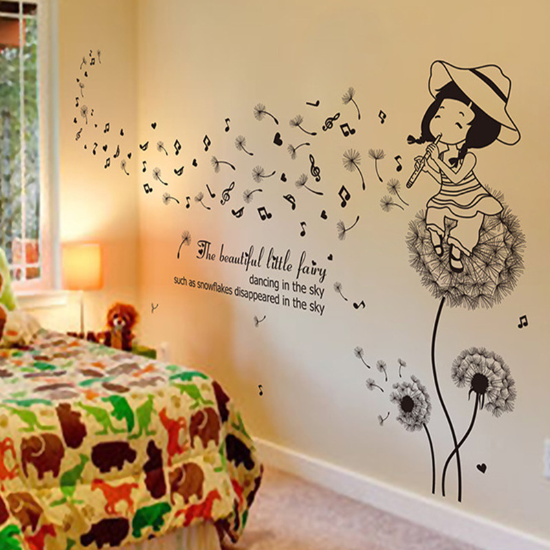Romantic Large Size Room Decor Little Fairy Playing Flute Music Note ...