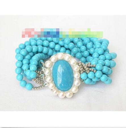 Livraison gratuite > > > > > > véritable 10row 6 mm rond bleu turquoise bracelet 8