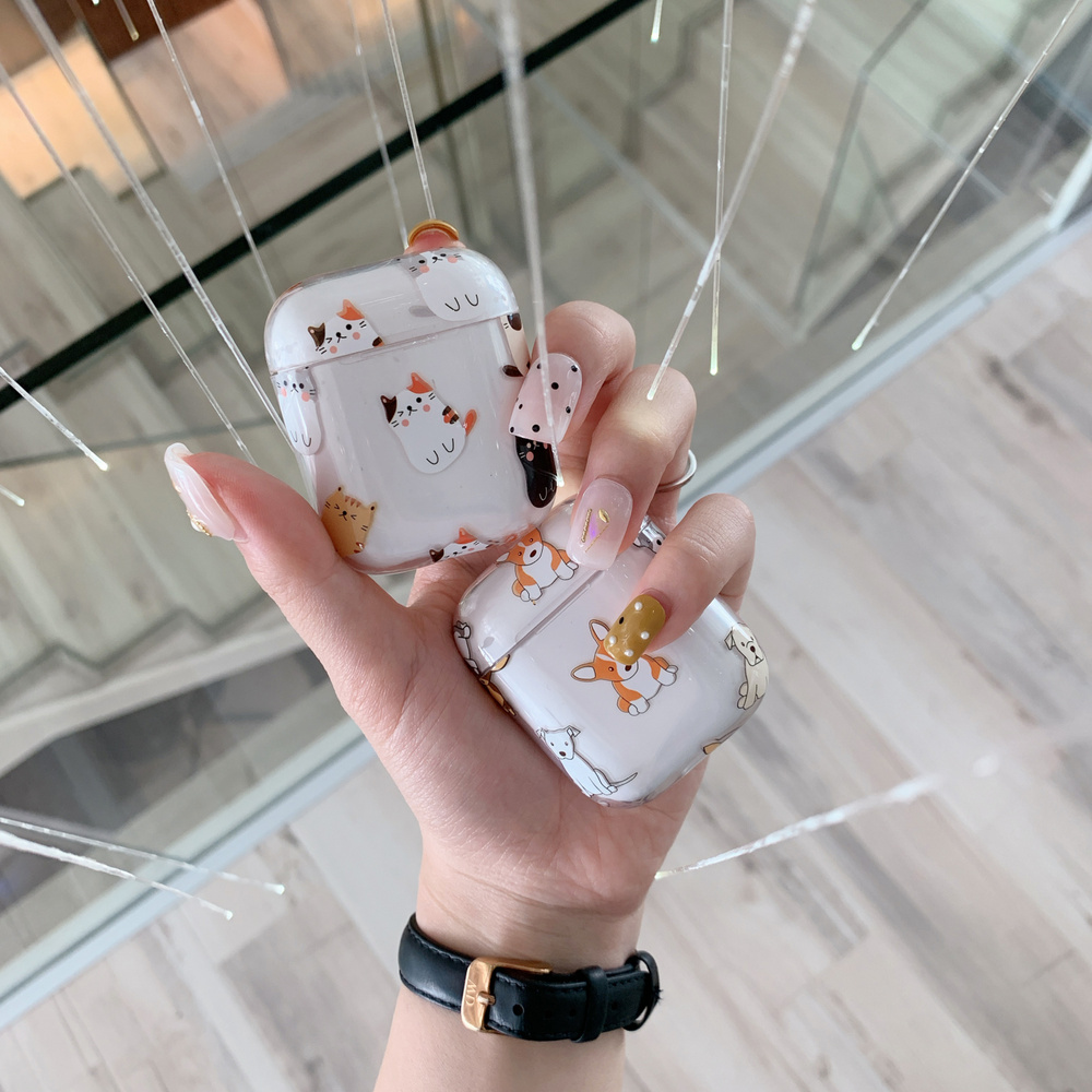 Cute Animal Hard PC Crystal Cover Bag Transparent Cats Dog Earphone Case for Apple AirPods 1 2 Wired Charging Box AccessoriesCute Animal Hard PC Crystal Cover Bag Transparent Cats Dog Earphone Case for Apple AirPods 1 2 Wired Charging Box Accessories