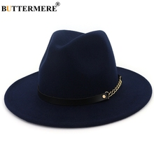 BUTTERMERE Fedora Wide Brim Felt Hat Women Navy Blue Casual Jazz Hats Men With Chain Solid Classic Autumn Winter Caps Red