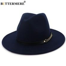 BUTTERMERE Fedora A Tesa Larga Cappello di Feltro Delle Donne Navy Blu  Casual Cappelli di Jazz Degli Uomini Con La Catena Solid . f0b6f7e1f39d