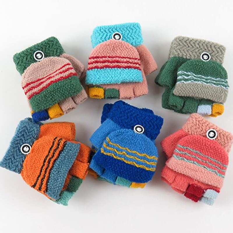 New Fashion Colorful Half Half Finger Fingers Wool Knit Wrist Gloves Winter Warm Workout For Boys And Girls Flip Gloves
