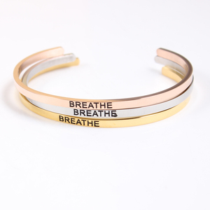 """New Stainless Steel Engraved Bangle """" BREATHE """" Positive Inspirational Quote Hand Stamped Cuff Mantra Bracelet For Boy Girl Gift"""