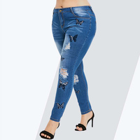 Rosegal Plus Size Butterfly Distressed Embroidered Jeans Women Pant Skinny High Waist Pencil Pants Denim Jean Ladies Trousers