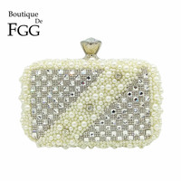Boutique De FGG Beige Beaded Silver Crystal Women Evening Purse Metal Clutch Bag Bridal Wedding Party