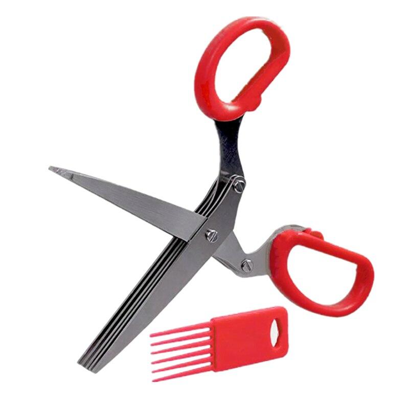 19 см фарш 5 слоев Basil Rosemary кухонные ножницы измельченный нарезанный скальон резак травы Laver специи повара инструмент резки - Цвет: Красный