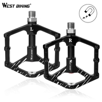 WEST BIKING 9/16 Bike Pedals 3 Sealed Bearings Aluminium Alloy Flat Bicycle Pedals Ultralight Magnet Design MTB Cycling Pedals