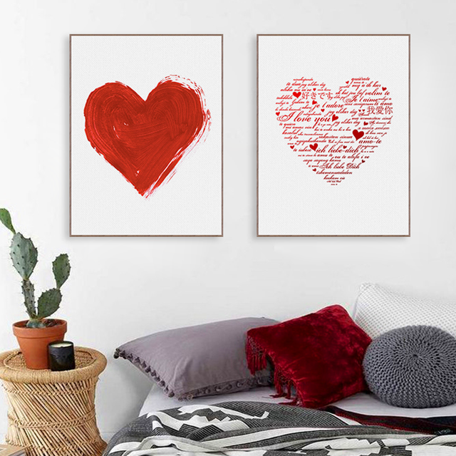 Romantic Waterproof Love Heart Theme Canvas Wall Painting