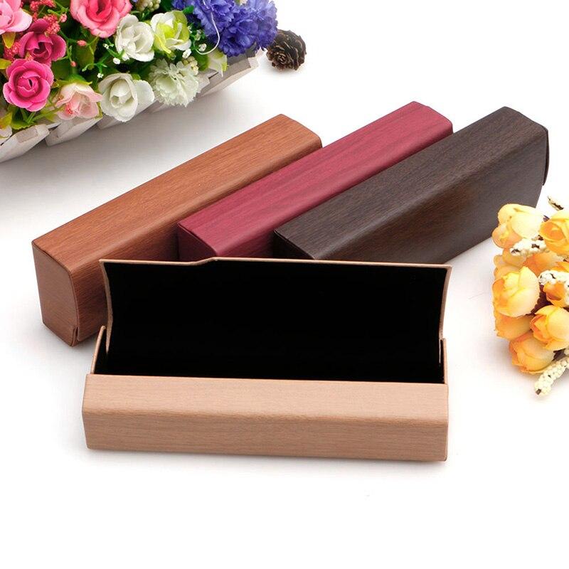 Portable Imitation Wood Grain Sunglass Box Hard Glasses Case Spectacles Holder