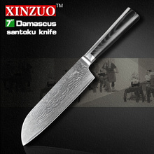 NEW 7″ inch Japanese chef knives VG10 Damascus steel kitchen knives sharp santoku knife cook tool micarta handle free shipping