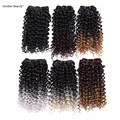 8inch jerry curl weave Curly weaving wefts Ombre blonde Black Boundle synthetic hair extensions hair products for black women