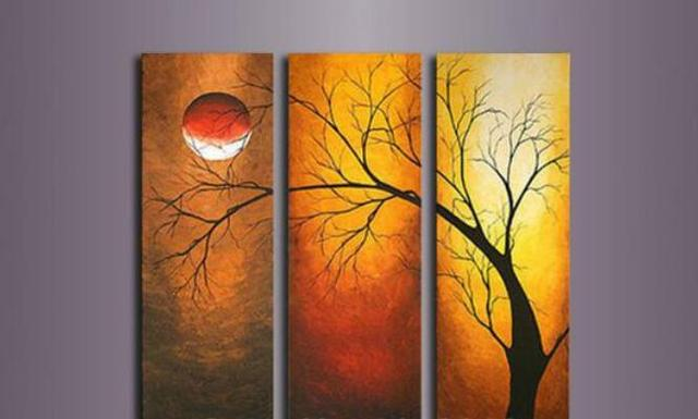 100 High Quality 3pcs Sun Moon Abstract Red Tree Oil Painting On