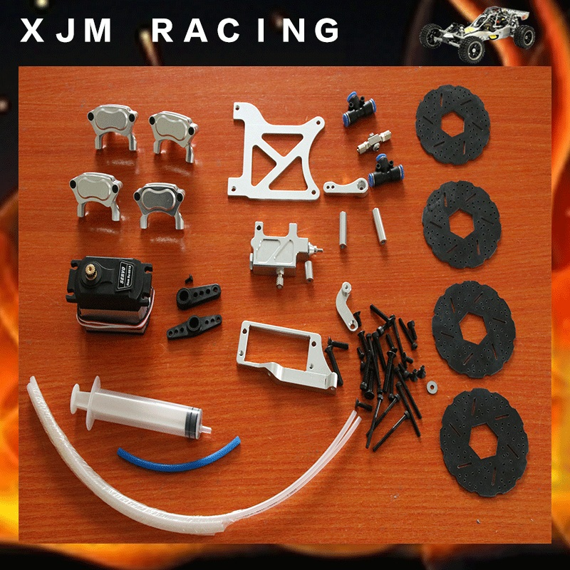 4 wheel hydraulic disc brake set  for 1/5 hpi rovan km baja 5b/5t/5sc parts 1 5 rc car racing parts four wheel line cable brake system kit fit hpi rovan km baja 5b 5t 5sc