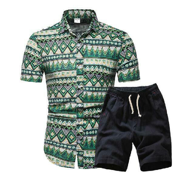 Men Hawaii Holiday Summer Floral Blouse Shirt Top Suit Sets Black Pants 2PC in Men 39 s Sets from Men 39 s Clothing