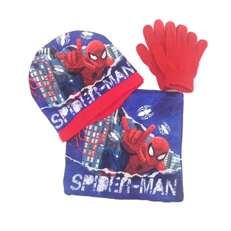 Handmade Autumn Winter spiderman Knitted crochet Hat scarf gloves Children Hat Set Christmas New Year Gift