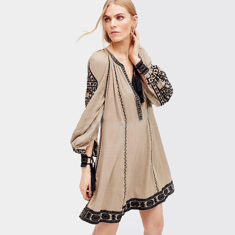 Khale Yose Long Sleeve Ethnic Dress Tassels Boho Hippie Chic Women Embroidery Dress Cotton Gypsy Vintage