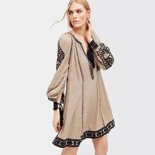 Фотография Sexy Embroidery Boho Dresses For Women Loose Mini Robe V-Neck Long Sleeve Hippie Chic Style Ethnic Holiday Female Dress Clothing