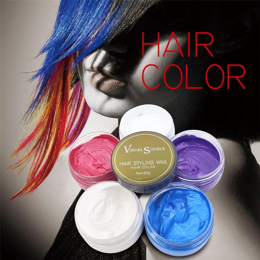 2017 New 80g Fashion Color Matte Hair Wax Men Women Grandma Hair Ash Dye Gray Mud Temporary Hair Wax Gray/Blue/Purple/White/Red