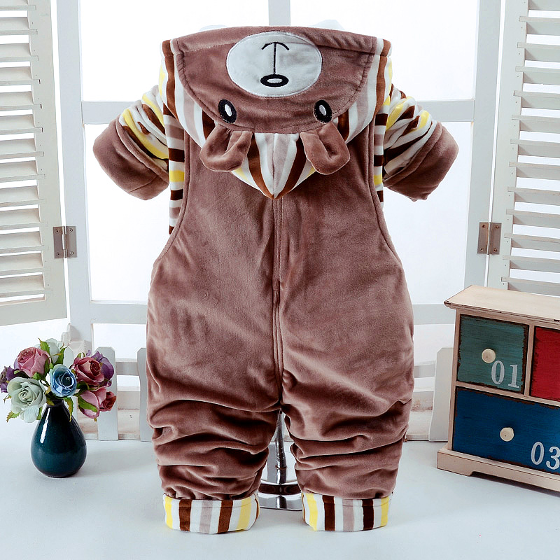 Autumn Winter Cartoon Bear Thicken Long Sleeve Suspender Trousers 0 2T Baby Infant Boy amp Girl 2 Pcs Overalls Children 39 s Clothes in Clothing Sets from Mother amp Kids
