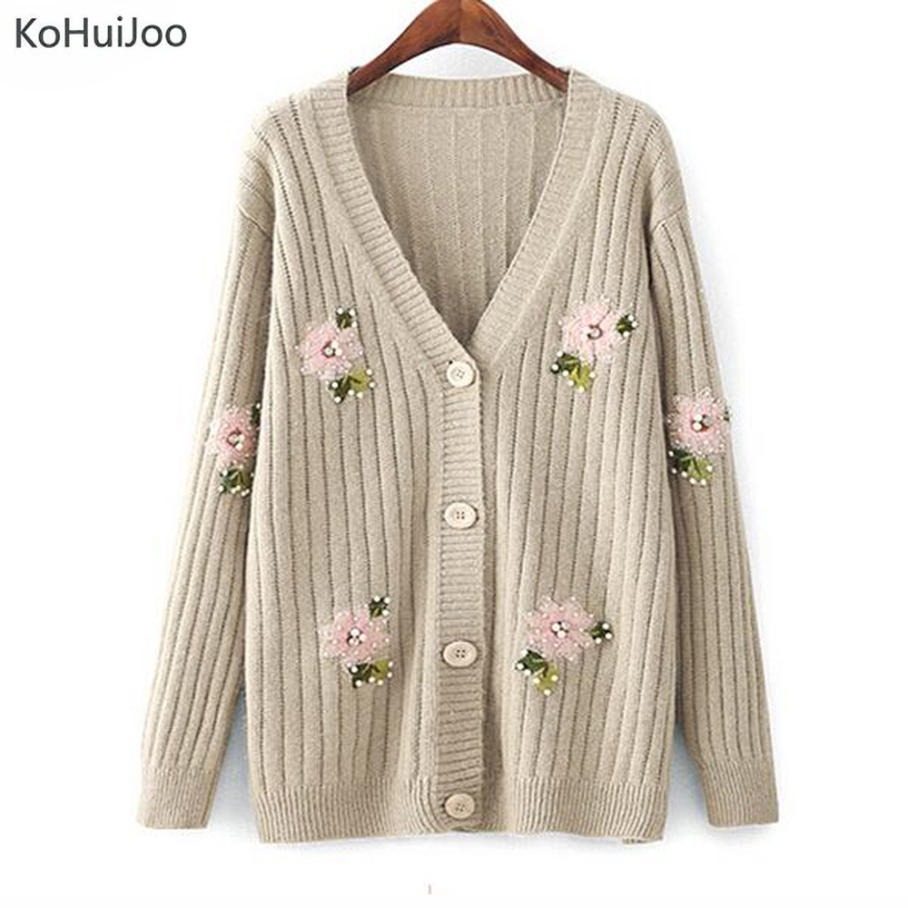 KoHuijoo Beading V Neck Cardigan Sweater Women 2018 Autumn Korean Female Single Breasted ...