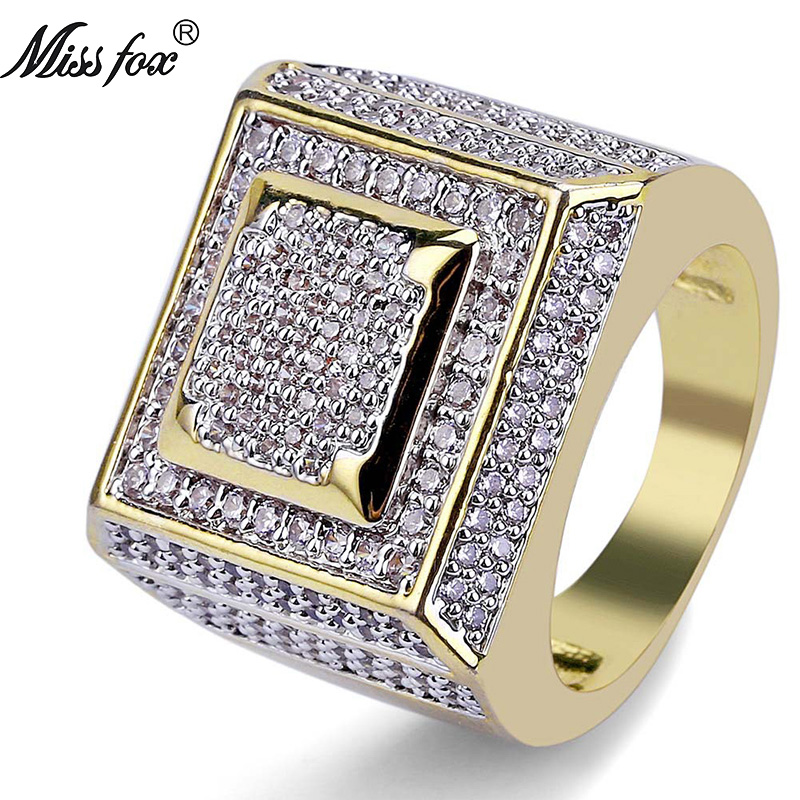 HOT Hip Hop Classic Rings For Men 2 Layer Square Best Selling 2018 Products Free Shiping 18k Gold Ring Wholesale Men Jewelry in Rings from Jewelry Accessories