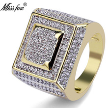 HOT!!! Hip Hop Classic Rings For Men 2 Layer Square Best Selling 2018 Products Free Shiping 18k Gold Ring Wholesale Jewelry