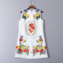 High quality embroidered rhinestone sleeveless dress Summer floral  jacquard mini dress G171 купить недорого в Москве