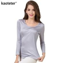 100% Murni Sutra Lengan Panjang T-shirt Wanita O-Leher Dasar Liar Bottoming Femme Tees Kemeja Atasan Fashion