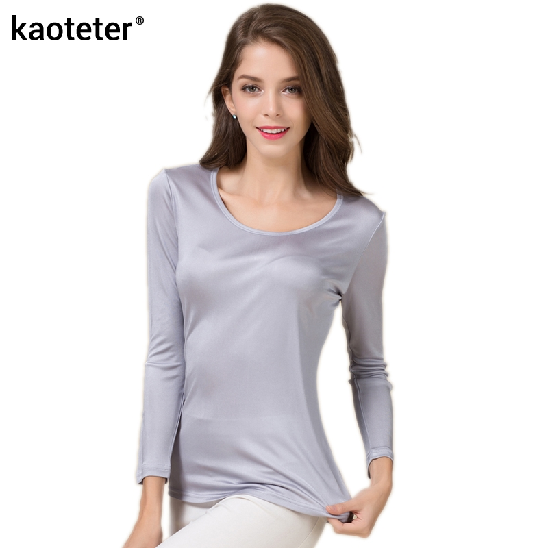 100% Pure Silk T-skjorter for kvinner med lange ermer Dame O-hals Kvinne Basic Wild Bottoming Femme Tees Shirt Tops Fashion Woman