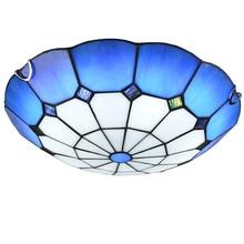 Kreative kunst Tiffany LED schlafzimmer lampe rund flur balkon lampe kronleuchter blau m